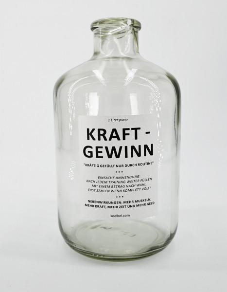 Sparflasche - 1-Liter-Kraftgewinn - Leerflasche zum Selbst-Befüllen durch Trainingsroutine