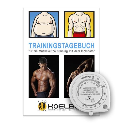 Maßband, Trainingstagebuch und Erfolgstabelle für kontrollierten Muskelaufbau
